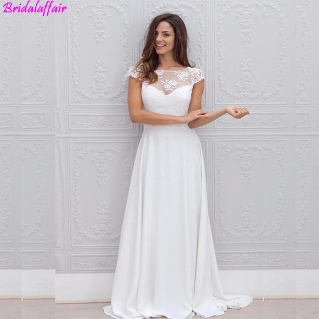 cb5c53aadd7e Wholesale Illusion Chiffon Beach Wedding Dress Turkey 2019 Appliques Lace  Custom Made Bridal Dress Plus size Wedding Gown