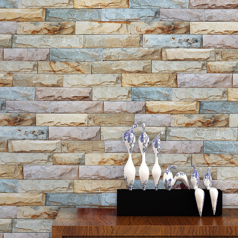 beibehang culture stone marble blocks PVC wallpaper for