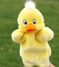 Story toy 1pc 26cm cartoon cute teal yellow duck hand puppets plush sleeping pacify game perform stuffed baby gift