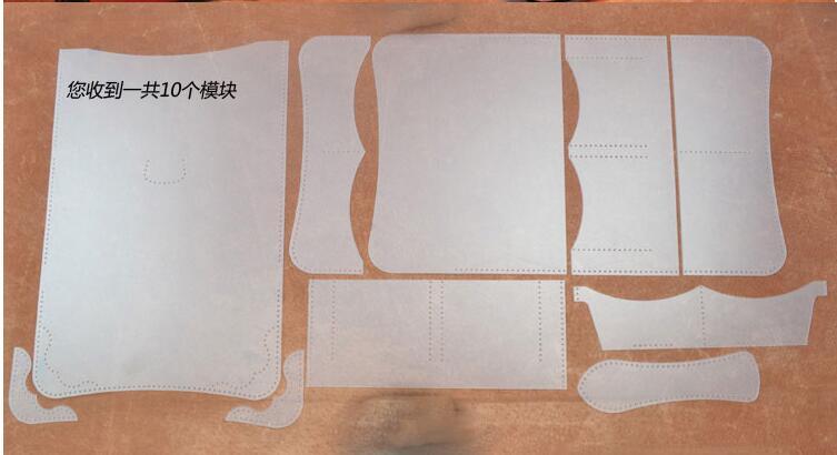Fabricación artesanal conjunto de cuero cartera bolsa patrón DIY ...