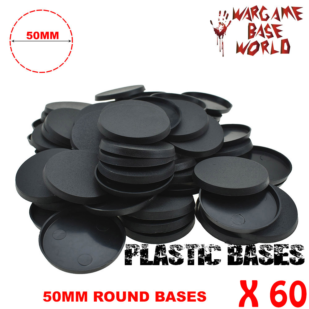 60 X 50mm Plastic Round Bases For Gaming Miniatures And Wargame Bases