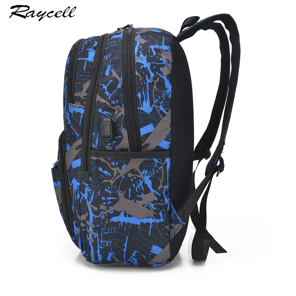 1e20ec0f5aa3 Men USB Port Backpack With laptop Waterproof Men Male Set College Book Bags  Travel Women Backpack High School Bags For Boys-in Backpacks from Luggage    Bags ...
