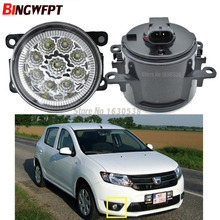 2x Car Exterior Accessories For Dacia Duster Sandero Logan 2004-2015 H11 LED Fog Lamps Front Bumper Auxiliary Passing Lights