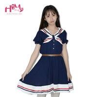 일본어 패션 Vivi 프레피 공주 드레스 하라주쿠 세일러 칼라 네이비 로리