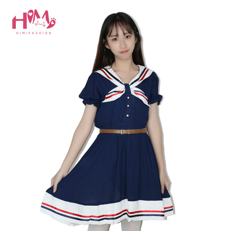 Japanese Fashion Vivi Preppy Princess Dress Harajuku Sailor Collar Navy Lolita Dress Pleated Bow Cotton Dress Pink For Ladies