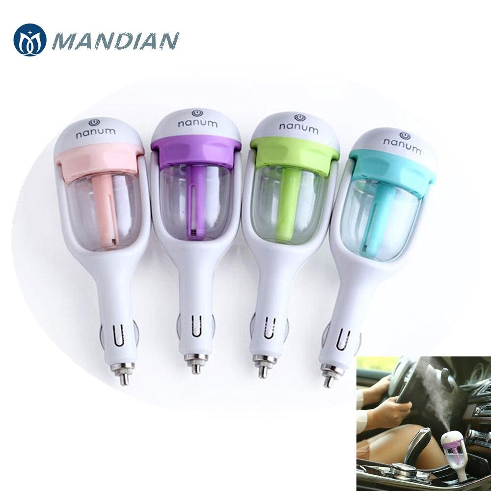 MD-Nanum caricabatteria da Auto Mini Umidificatore Purificatore D'aria Aroma Diffusore Aria Auto Deodorante Aromaterapia Mist Maker con 2 pz spugne
