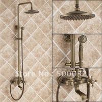 FLG ванная душевой Набор кран душевая головка медный комплект для душевой Двойной Держатель двойной контроль настенный античный ванная душ