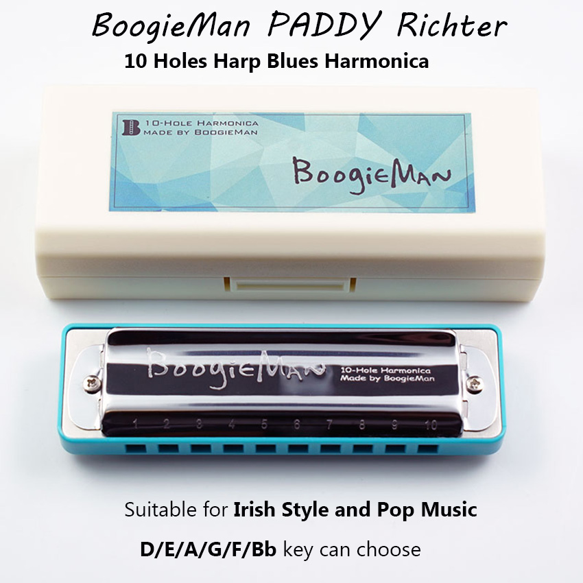 BoogieMan PADDY Richter 10 Holes Diatonic Harmonica Tuned D/E/A/G/F/Bb Blues Harp Irish and Pop Music Musical Instrument d a t e кеды pop glitter
