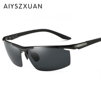 High Quality Semi Rimless Aluminum Alloy Frame Polarized Sunglasses Men S Driver Sunglass Mirror Outdoor Sports