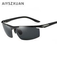 High Quality Semi Rimless Aluminum Alloy Frame Polarized Sunglasses Men S Driver Sunglass Mirror Outdoor Sports