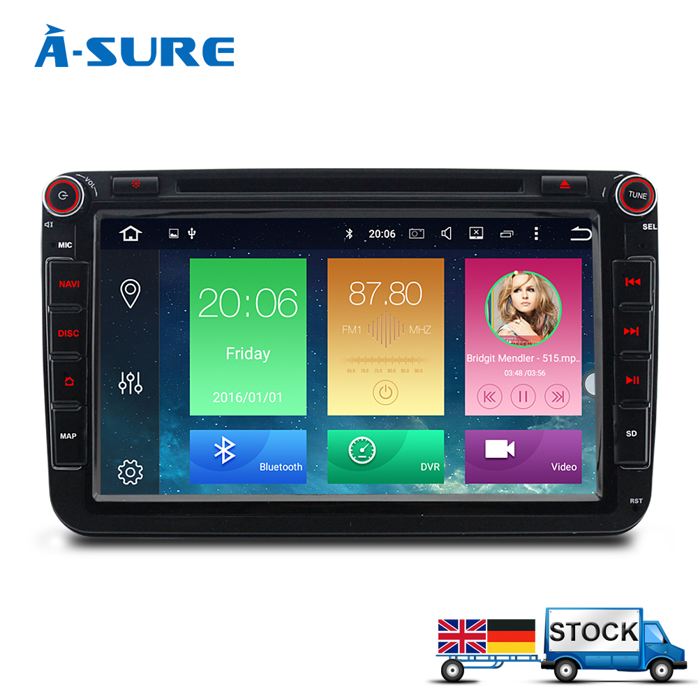 A Sure 2 Din Android Car Auto Radio GPS DVD For VW Passat B6 Golf 5 6 Tiguan Polo Sharan Touran Skoda Octavia Car Multimedia