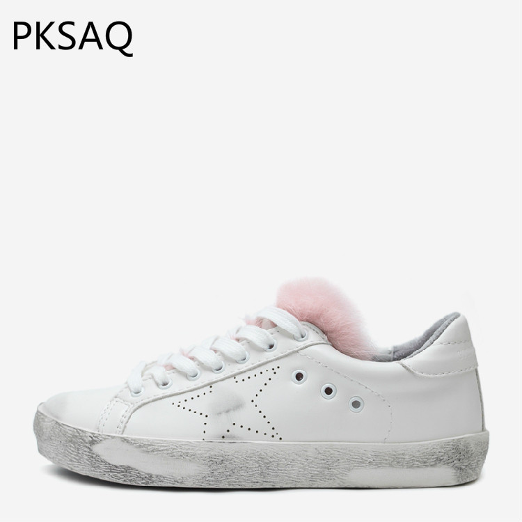 Spring Autumn Women Fashion Stars Make Old Dirty Shoes Low Top Single Shoes Ladies Flat Casual White Fur Shoes B e lov women casual walking shoes graffiti aries horoscope canvas shoe low top flat oxford shoes for couples lovers