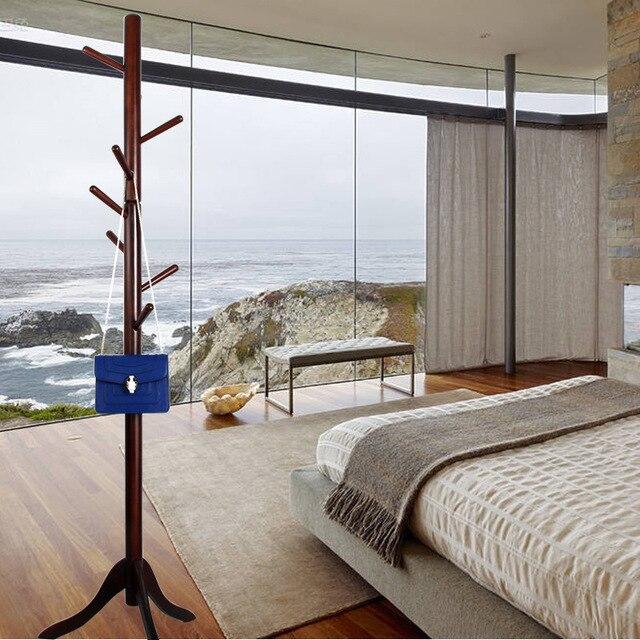Rubber Wood Bedroom Solid Wood Living Room Coat Rack Display Stands Scarves  Hats Bags Clothes Shelf
