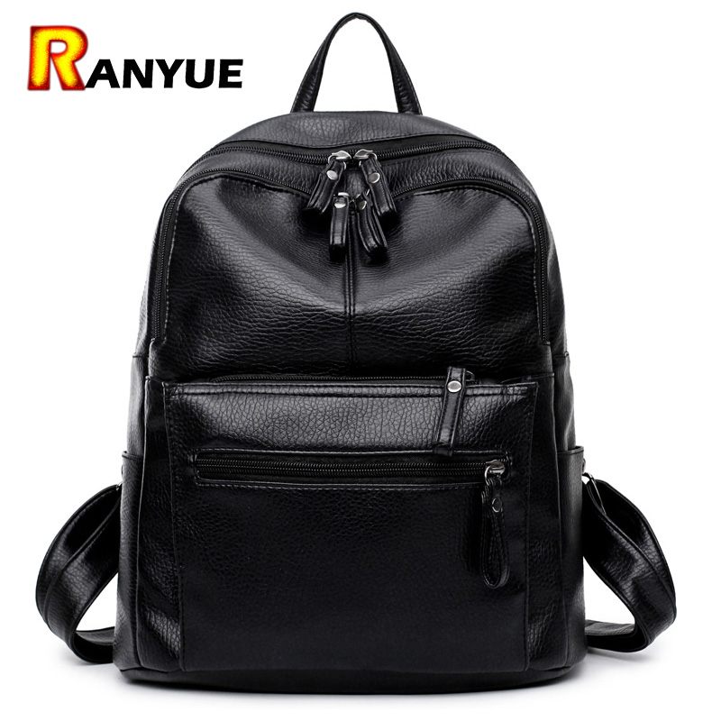 Korean Women Backpack High Quality Soft Pu Leather Backpack Women Bag Student School Backpack Bags For Teenage Girls Mochila Sac