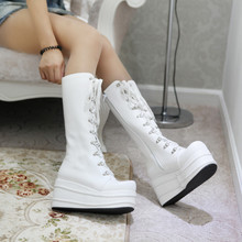 Plus size 41 42 43 women spring autumn motorcycle mid-calf zipper lace-up platform wedges high heels long boots female boot F45