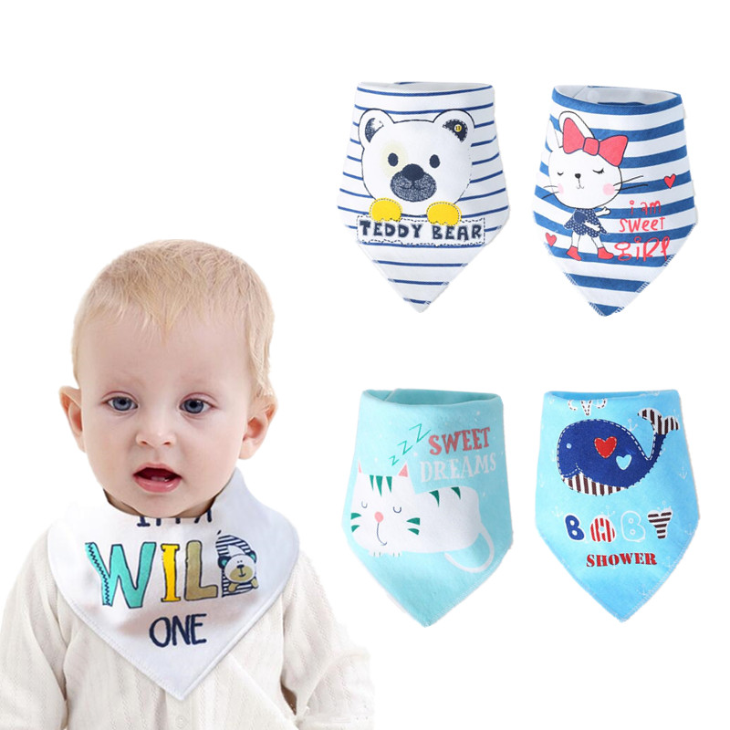 1//5Pcs Cotton Infant Saliva Towel Baby Burp Bandana Bib Kids Triangle Scarf Lot
