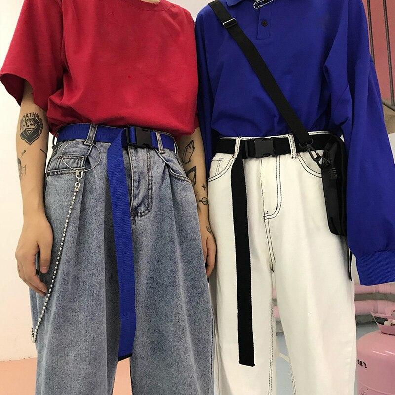 Adults Adjustable All-Match Belt Unisex Korean Style Canvas Belts Vintage Plastic Buckle Elastic Solid Color Long Waistband