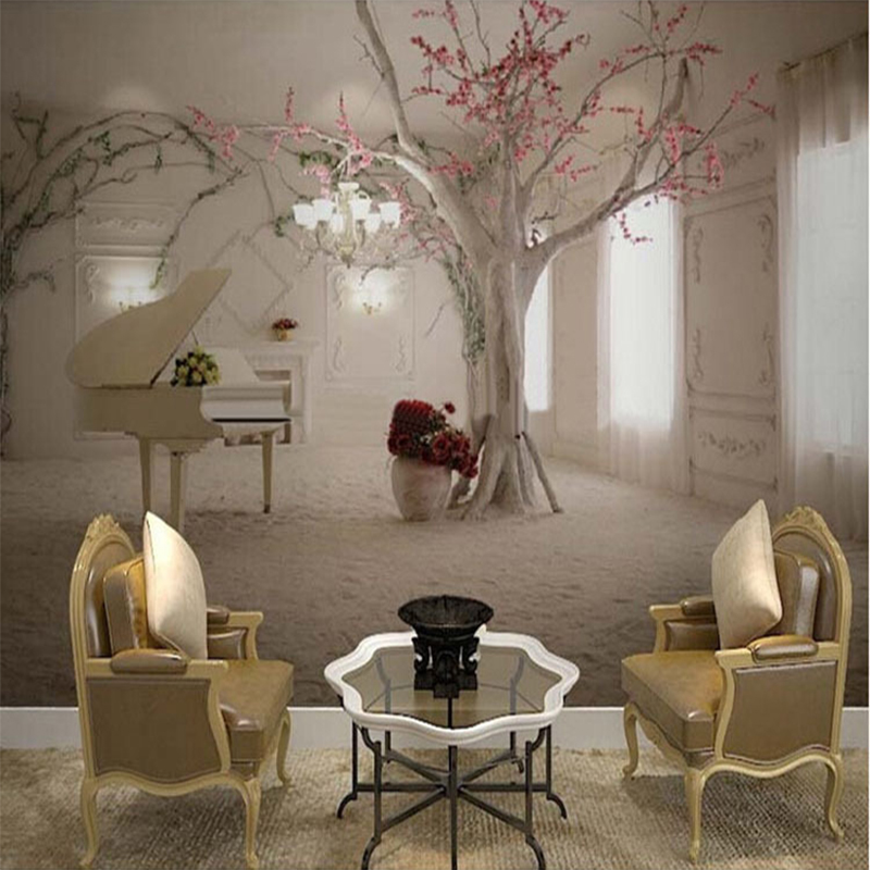 Modern simple trunk piano art wallpaper living room for Mural 3d simple