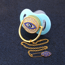 Bling Luxurious Pacifier Blue Eye Rhinestone Baby White Chain Holder Dummy Food Grade BPA Free