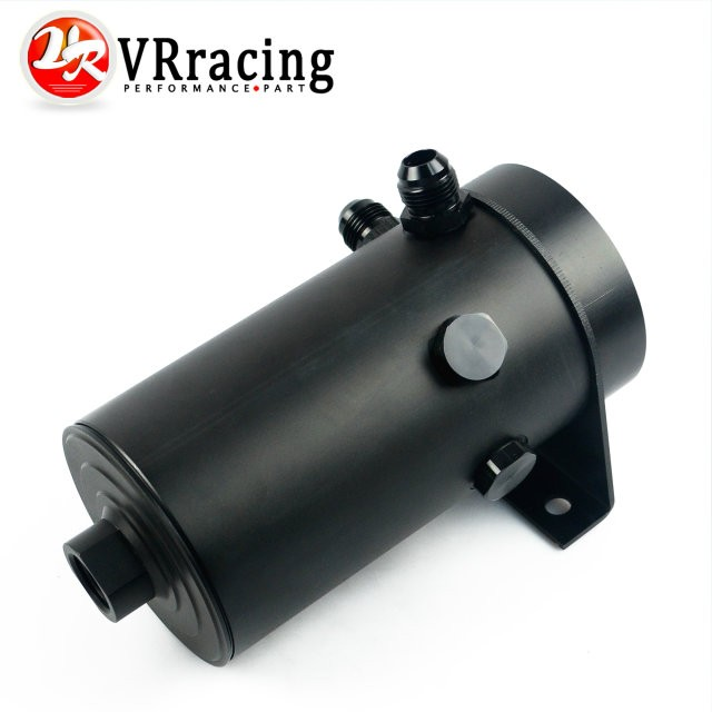 VR RACING UNIVERSAL ALUMINIUM ANODIZE BLACK OIL TANK WITH 08 AN PORT 10 AN FLARE AND