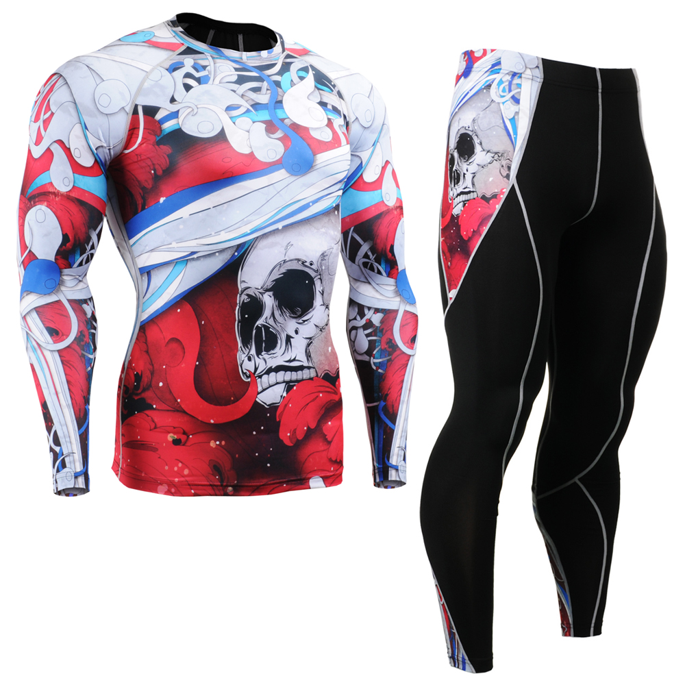 Women's Compression Long Sleeve Shirt Leggings Set Quick Dry Gym Outfit UV Rash Guard Unisex Workout Clothes Sport Training Suit mcdavid 6300 dual compression knee sleeve