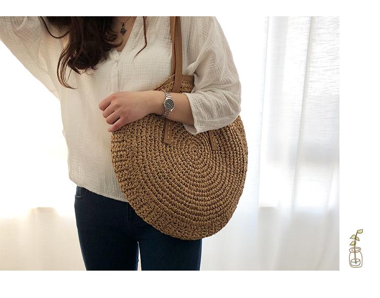 Round Straw Beach Bag Vintage Handmade Woven Shoulder Bag Raffia circle Rattan bags Bohemian Summer Vacation Casual Bags 11