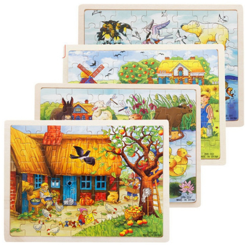 Wooden 60 Piece Puzzle Children's Puzzle Early Education Wooden Farm Animal Cartoon Jigsaw Puzzle Toy