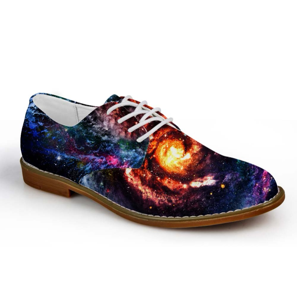 Noisydesigns Casual Oxfords Shoes Mixed Color Interstellar Galaxy Starry Print Men Leather Business Dress Shoe Lace Up Loafers mixed print lace insert tiered hem skirt