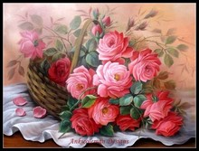 Basket of Roses - Counted Cross Stitch Kits - DIY Handmade Needlework for Embroidery 14 ct Cross Stitch Sets DMC Color