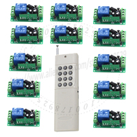 DC 12v 12CH remote control 433mhz 315mhz Switch Remote light ON-OFF 1 transmitter + 12 receiver Fixed code 1000m SKU: 5108