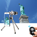 Hd 18x zoom telescópio lente telefoto lentes de telefone caso para iphone 6 6 s 7 plus 5 5S 4 4S samsung note 2 3 4 5 bluetooth controle