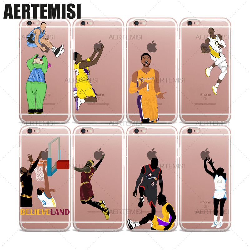Phone Cases LeBron James Andre Iguodala Allen Iverson Tyronn Luee Clear TPU Case Cover for iPhone 5 5s SE 6 6s 7 Plus