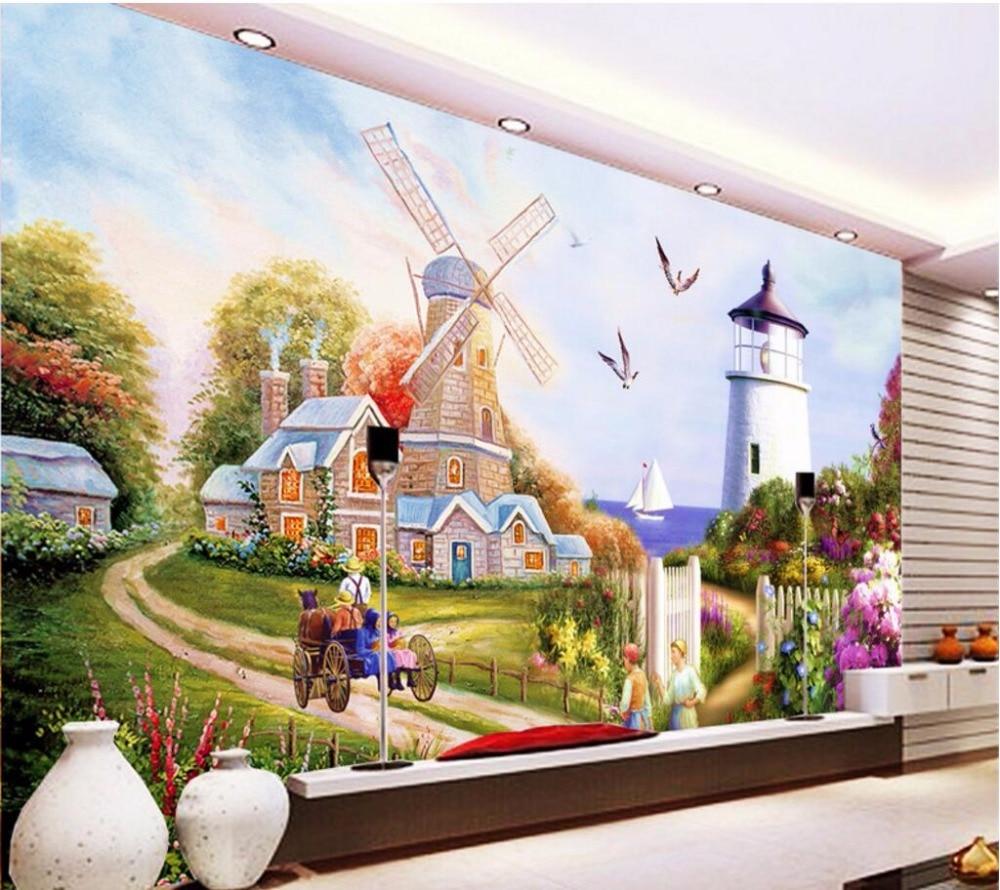 Custom mural 3d photo wallpaper european windmill for Custom mural painting