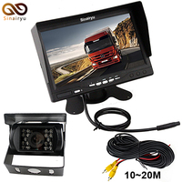 Sinairyu 7 Inch TFT LCD Color Monitor With Backup Rear View Camera Night Vision Side Camera