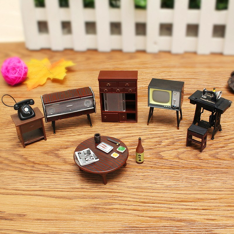 Attractive Miniature Dollhouse Furniture Set Sewing Machine Telephone For Families  Role Play Toy Kit(China)