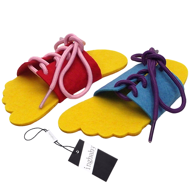Dongzhur 2pcs Creative Teaching Supplies Felt Cloth Hand Diy Props Kindergarten Teacher Teaching Toys Practice Tie Shoelaces Dol