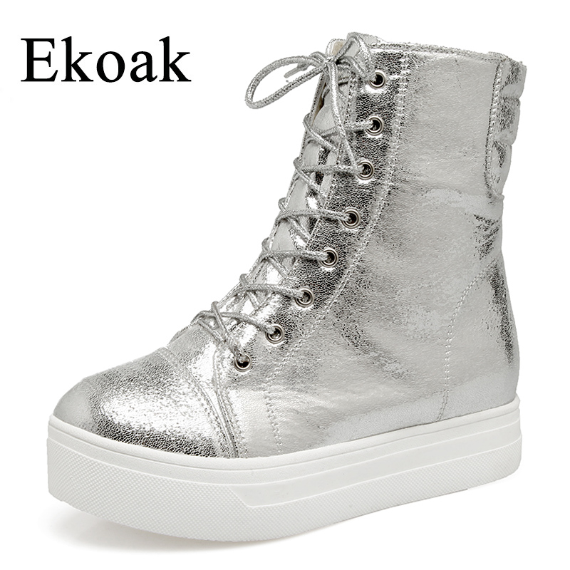 Ekoak New 2018 Spring Fashion Ankle Boots Women Shoes Leather Motorcycle Boots Ladies Lace-Up Martin Boots Platform Shoes Woman euro style spring autumn women ankle boots platforms square heel ankle boots lace up fashion motorcycle boots martin shoes