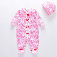 New Arrive Baby Girls Spring Romper Full Sleeve Pink Infant Cover Foot Child Girls Floral Princess