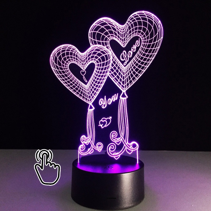 3D LED Hologram Illusion Decorations Night Light Optical Illusion Tabletop Lamp Love Hearts 7 Colors Veilleuse USB Night Lamp amroe 3d illusion love heart led lamp