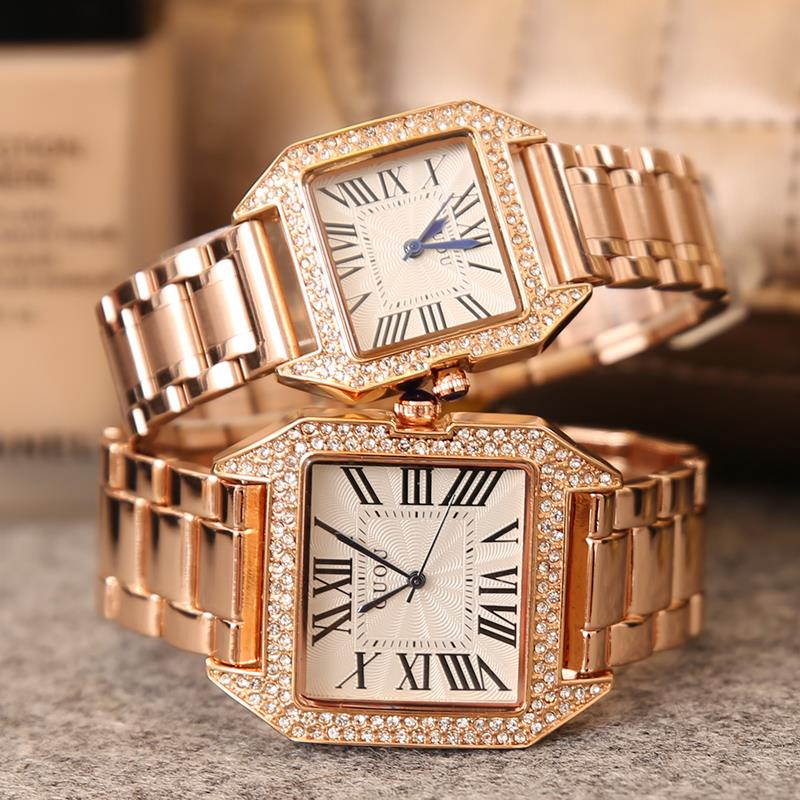 HK Famous Brand Fashion Square Luxury Full Gold Steel Diamond Shell lovers watches Mens Woman Lovers