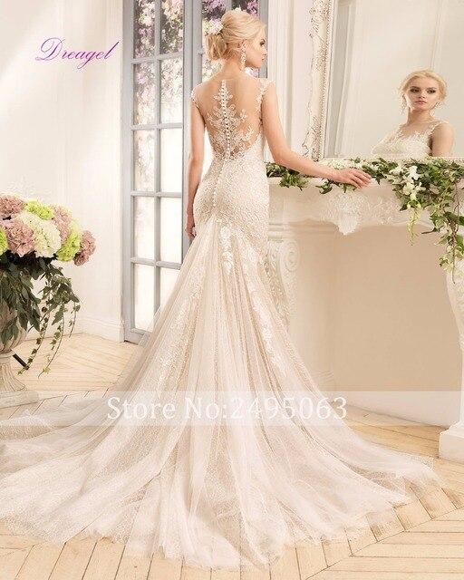 Dreagel Hot Sale Elegant Scoop Neck Princess Lace Mermaid Wedding Dress 2017 Gorgeous Appliques Cap Sleeves Vintage Wedding Gown