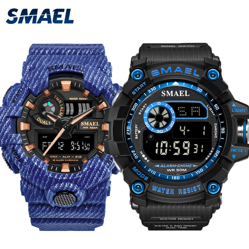 Watch Set Military Mens SMAEL Watches Waterproof Stop Watch Running Clock Sets 8001 8010 reloj mujer Mens Watches Luxry Brand | Fotoflaco.net