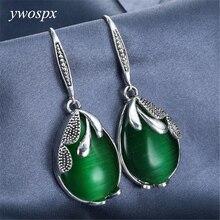 все цены на Vintage Green Crystal Big Stone Drops Dangle Earrings for Women Wedding Engagement Statement Brincos Drop Earrings Gifts Y20 онлайн