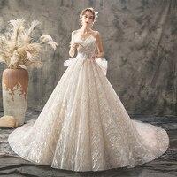 Шампанское Vestidos De Noiva роскошный платья со шлейфом Свадебное платье для невесты с блестками без бретелек Хепберн свадебное платье для принце