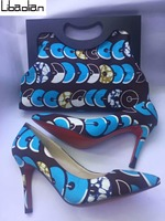 New Arrive sky blue african wax fabric clutch bag wallet &high heel wax shoes sets size 37 43 10cm higher for women party H79 10