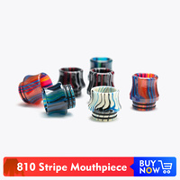 Quartz Banger 20pcs / 50pcs / 100pcs Epoxy Resin Stripe 810 Drip Tip Mouthpiece Wide Bore for V8 Big Baby V12 Prince