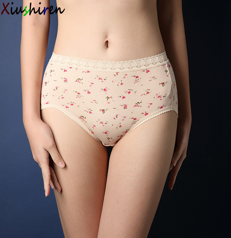 Xiushiren 100 Cotton Plus Size Hot Underwear Women Floral Panties Briefs For Female Hipster Underpant Big Hip M,L,Ll,3L,4L C02-In Briefs From -5587