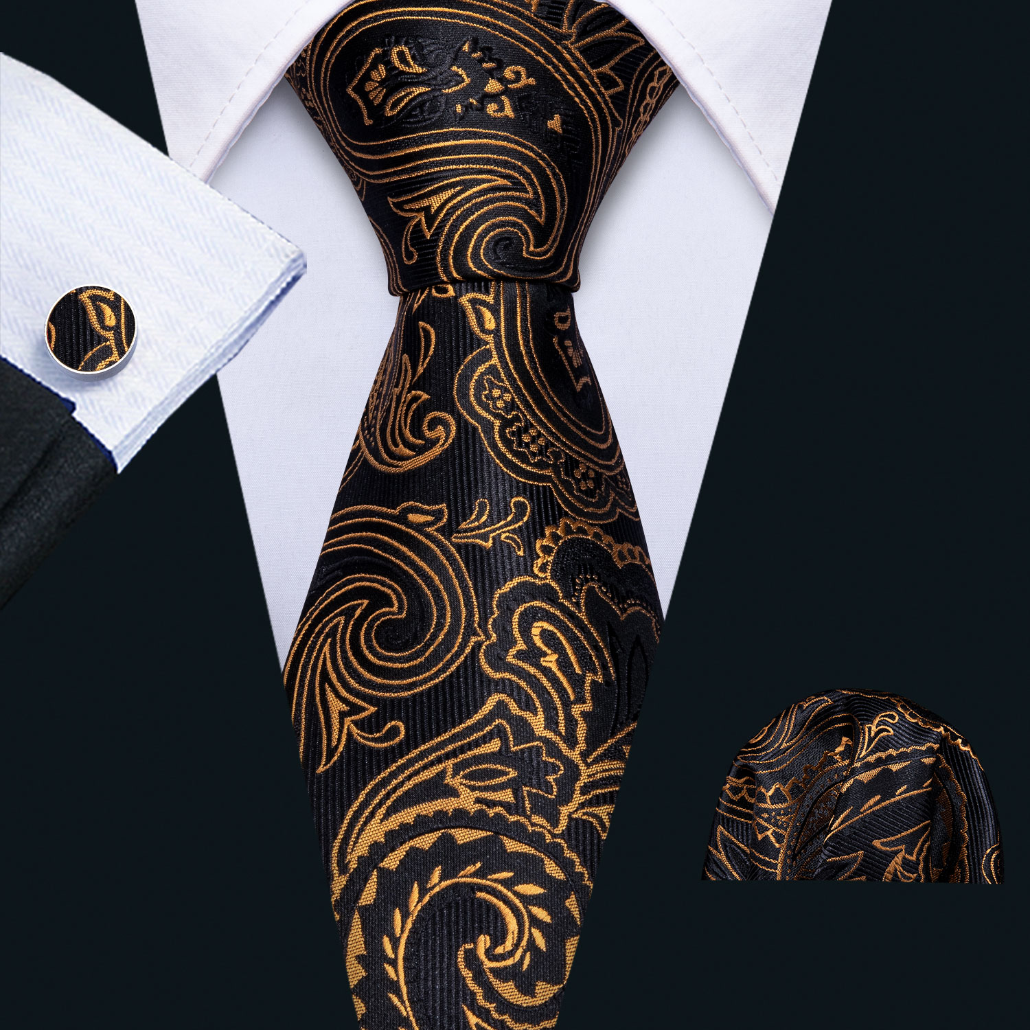 2019 Mens Wedding Tie Gold Paisley Silk Tie Set Barry.Wang 3.4