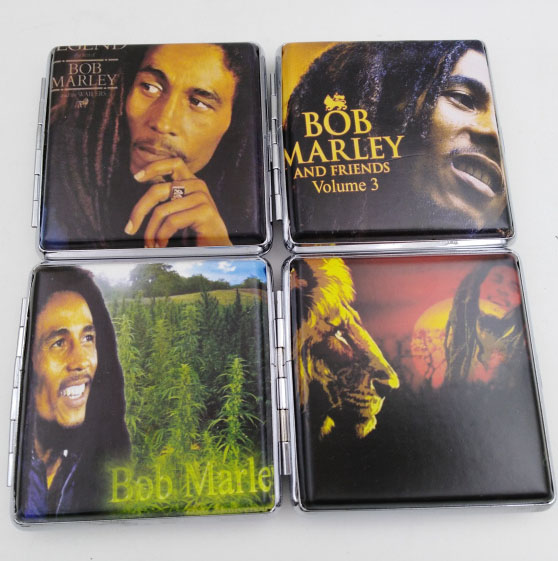 Cigarette <font><b>Case</b></font> Bob Marley Leather & Metal Cigarette Box hold 20 pcs Pouch Holder <font><b>Tobacco</b></font> Storage Container 4pcs/lot image