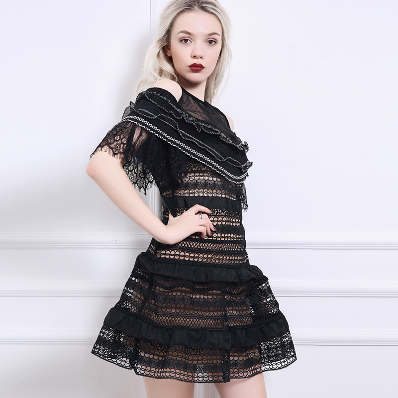 82c544d014d8 2018 New Year Celebrity Party Dress For Women Self Portrait See Though Off  the Shoulder Mesh Lace Cloak Short sleeve Black dress-in Dresses from  Women's ...